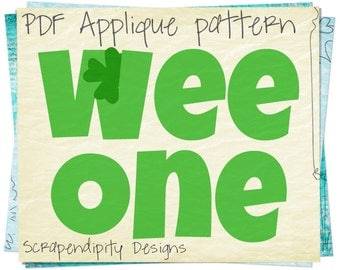 St. Patricks Day Applique Template - Wee One Applique Pattern / Celtic Quilt Pattern / Nursey Wall Hanging / Irish Applique Shirt AP187-D