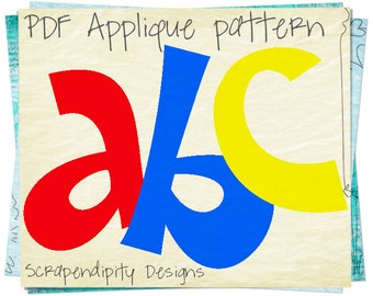 Alphabet Applique Pattern - Letters Applique Template / Kids Girls Name Shirt / Lettering Quilt Pattern / Baby Tshirt / Nursery Wall Hanging