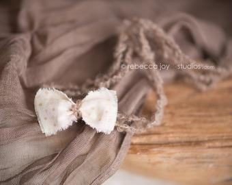 Newborn Headband - The Dune -Earth Brown Sand - Newborn Photo Prop - polka dots, halo, bow headband, head band, photography prop