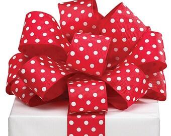 """5YDS Grosgrain Ribbon 1-1/2"""" Wired Edge RED & WHITE Polka Dot Spots"""