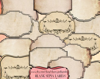 16 Digital Frames, vintage labels, tags for use  in scrapbooking, label making  and invitations.