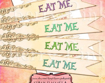 Alice In Wonderland decorations, Eat Me cake toppers, party printable straw flags, Alice decoration party printable Alice party supply