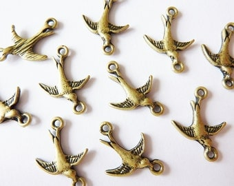 10 connectors, bird, bronze