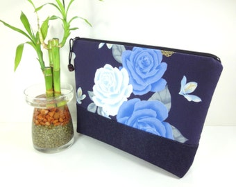 Handmade Cosmetic Bag, Gift For Her, Fabric Travel Pouch, Padded Cosmetic Pouch Japanese Kimono Cotton Fabric Roses Navy