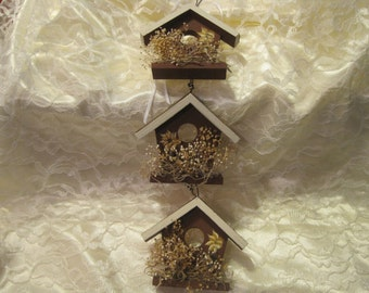 Scented Wall Hanging Country Birdhouse Trio