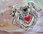 Victorian Kissing Cupids and Hearts Silver Tone and Enamel Pin Brooch -  1 1/2 x 1 3/4