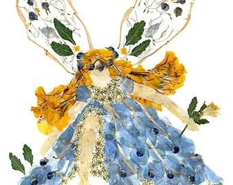 "Fantasy Fairy Flower Art - ""Moon-Spirit Faery""  8 x 10 Fine Art Giclee Print"
