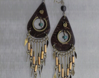 ON SALE-Hand beaded Brown leather ethnic earring combined with brass and reed beads