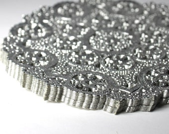 50 Silver 5 inch paper doilies, metallic doilies, silver coasters, party decor, wedding trim