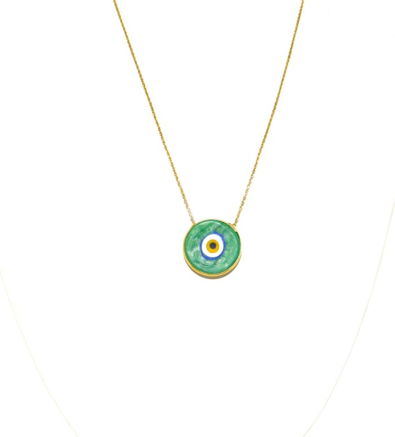 Evil Eye Necklace, Gold Plated Sterling Silver Chain, Evil Eye Charm, Evil Eye Jewelry
