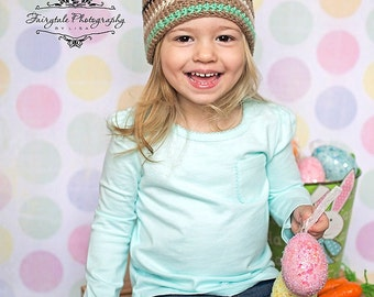 Brown Striped Bunny Hat