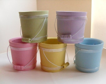 Pastel Wood Bucket - Wedding favor, birthday party, baby shower, Easter basket, spring decor, set of 5