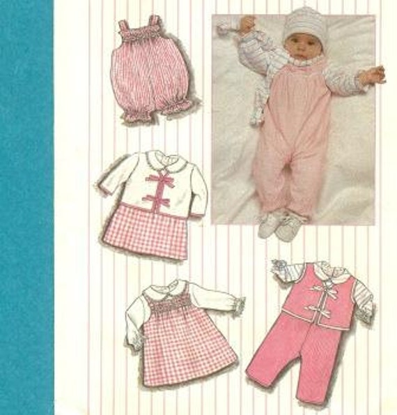 FREE USA Shipping Simplicity 6666 Newborn Babies Layette Sewing Pattern 1980s Infant Baby Hat Jumper Vest Romper Jacket Overalls Scarf 1984