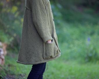 Oversized Knitted Coat - Women Jacket - Green Big Pockets Knit  (A199)