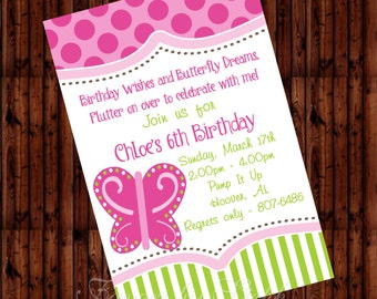 PRINTED qty 30 Birthday Invitations Ariel or Butterfly Dreams