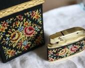 Golden Seal Cigarette Case & Lighter Set West Germany Tobacco Collectible Floral