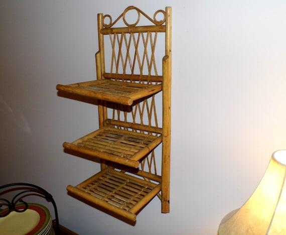 Items Similar To Vintage Bamboo Amp Split Bamboo 3 Shelf