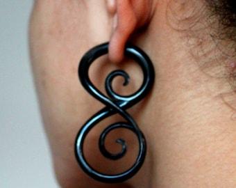 Black Horn tribal earrings - fake gauges