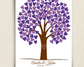 Wedding Guest Book Alternative - Heartwik Guest Book Tree - Peachwik Signature Print - 125 guest sign in - Romantic Tree Wedding Decor