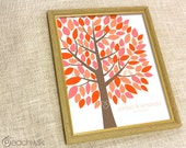 Wedding Tree Guest Book - The Wishwik Multi Tree - A Peachwik Interactive Print - 100 guest sign in - Colorful Coral Wedding Guestbook Tree
