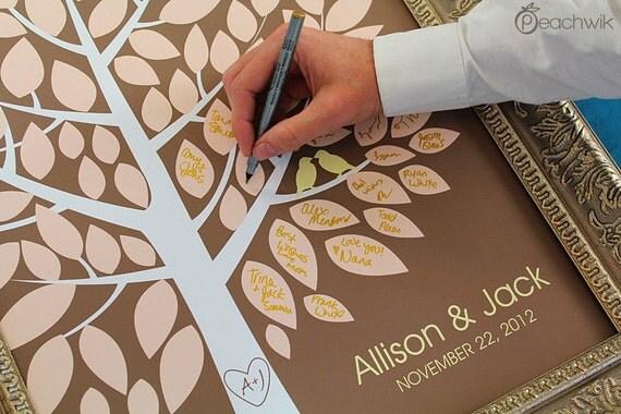 Wedding Guest Book Alternative - The Wishwik Tree - A Peachwik Interactive Art Print - 100 guest sign in