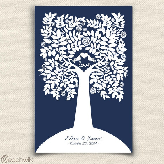 Wedding Guest Signing Tree: Wedding Guest Book Alternative Charmwik Tree Guest By Peachwik