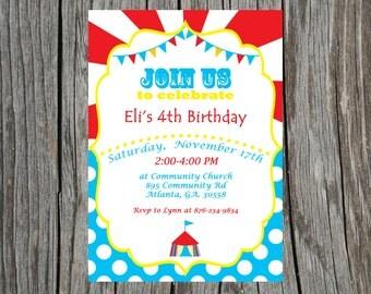 Custom Printable Circus Birthday Invitation.  Carnival Invite.  Circus Party Invitation.
