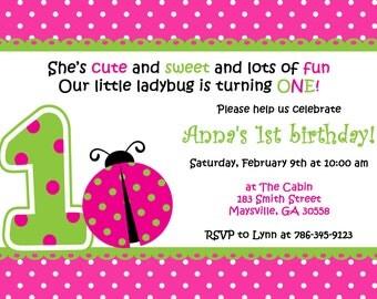 Little Ladybug Birthday Invitation.  Pink and Green birthday party invitation.