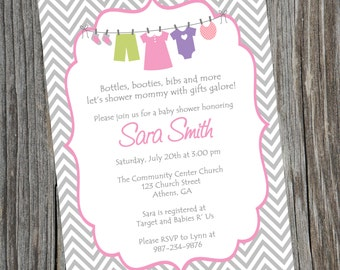 Printable Girl Baby Shower Invitation.  Printable Baby Girl Chevron Shower Invitation.  Girls Clothesline Invitation.
