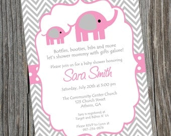 Pink Elephant Baby Shower Invitation.  Printable Baby Girl Chevron Elephant Shower Invitation.  Girls baby shower Invitation.