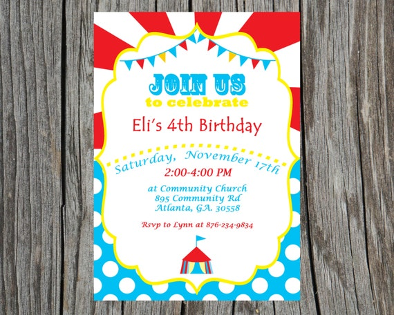 Custom Printable Circus Birthday Invitation Carnival Invite - Birthday invitation cards circus