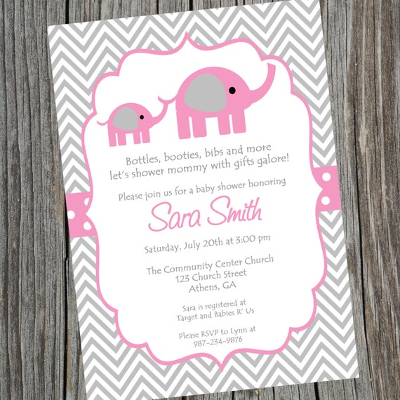 pink elephant baby shower invitation. printable baby girl, Baby shower invitations