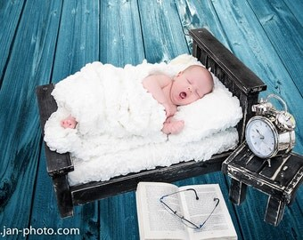 Newborn Bed Photo Prop Antique Black Classic Complete Set w/ Table