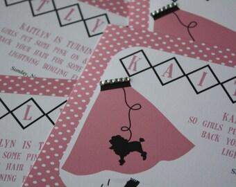 Bowling 50's Sock Hop Poodle Skirt Birthday Party Custom Invitation