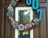 Address number paper flower wreath
