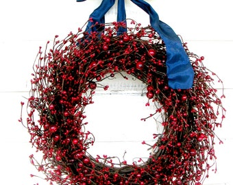 Summer Wreath-4th July Wreath-SUMMER RED BERRY Door Wreath-Patriotic Wreath-Holiday Door Wreath-Summer Decor-Custom-Choose Scent and Ribbon