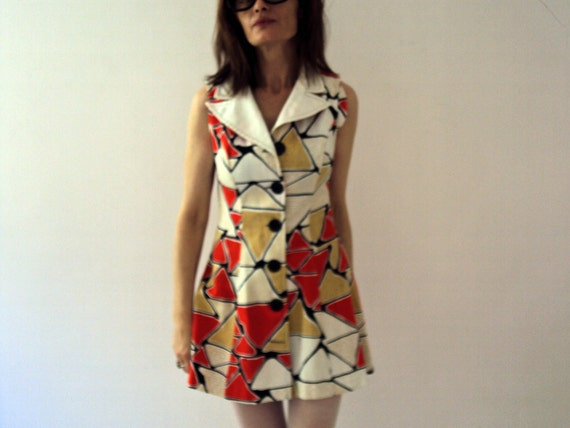 Vintage 70s Geometric  Mosaic Triangle Hipster Dolly Mini Dress Waffle Cotton Red Mustard White