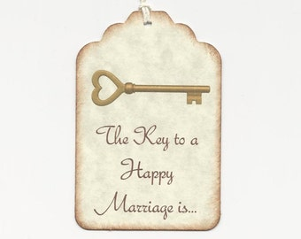 100 KEY to a Happy Marriage- Wedding Wish Tags - Wedding Favors- Escort Cards - Wish Tree Tags