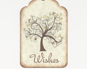 100  Wedding Wish Tags-BEIGE leaves - Wedding Favors- Escort Cards - Wish Tree Tags