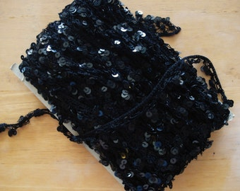 """Braided Crocheted Lace Poly Black Trim With Black Sequin 1"""" Wide."""