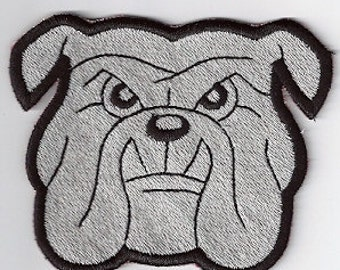 Grey bulldog head embroidered patch