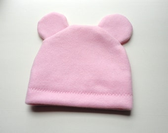Infant Candy Pink Fleece Hat with Bear Ears