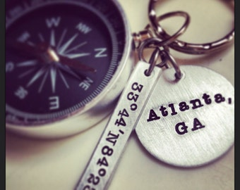 Fathers Day Compass latitude longitude coordinates personalized location keychain Graduation long distance love gift for him going away gift