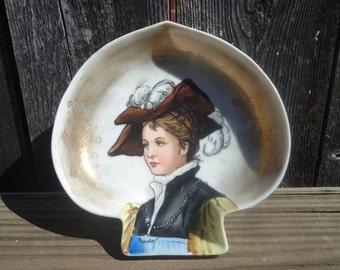 Victorian Woman Ceramic Spade Dish