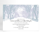 Winter Wedding Invitations with Trees- Winter Wonderland, Park Theme, City Wedding, City Park Snow Covered Path - ALookOfLove