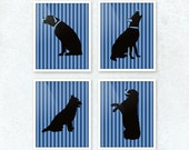 Dogs Art Prints, Wall Art, Home Decor for the Dog Lover. Set of Four, Striped Background in Your Choice of Colors.