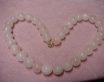 """Vintage Natural Rosequartz Beads Necklace, 12MM, hand strung, 16.5"""", 14K Goldfilled Magnet Clasp, w/matching bracelet"""