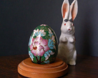 Vintage Cloisonne Egg Lotus Blossoms