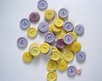 Vintage Buttons Spring Colors Yellow Lavender Mauve Lot of 43 Buttons