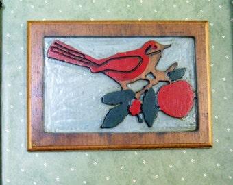 Vintage Painted Woodcut Bird on Branch Folk Art